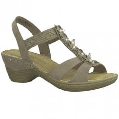 Marco Tozzi Womens Wedge Heeled Comfort Sandals 28504 - Taupe