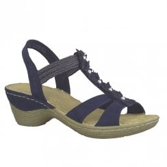 Marco Tozzi Womens Wedge Heeled Comfort Sandals 28504 - Navy