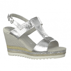 Marco Tozzi Womens Wedge High Heeled Sandals 28709 - Silver