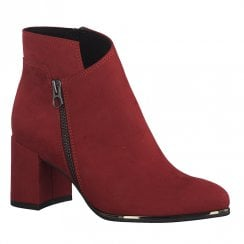 Marco Tozzi Womens Block Heeled Suede Ankle Boots 25015 - Red