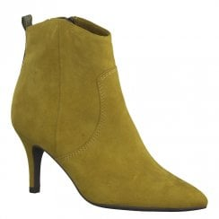 Marco Tozzi Womens Mid Heel Pointed Toe Ankle Boots 25338 - Mustard Yellow