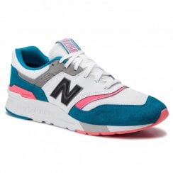 New Balance Mens 997 White Teal Suede Sneakers - CM997HCS