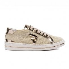 Replay Ladies King Lace Up Knit Sneakers Shoes - Gold