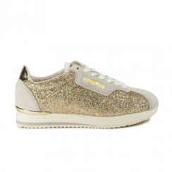 Replay Ladies Suerte Lace Up Sneakers Shoes - Gold Glitter