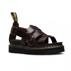 Dr Martens Womens Terry Flat Platform Comfort Sandals - Burgundy Brown