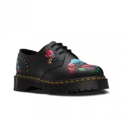 Dr Martens Womens 1461 Rose Bex Lace Up Shoes - Black Multi Roses