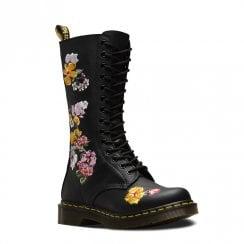 e9dbf2cc0d33 Dr Martens Womens 1914 Vonda II Long Lace Up Boots - Black Multi Flower