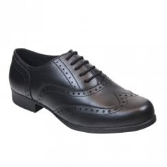 Term Girls Bella Black Leather Brogue School Shoes