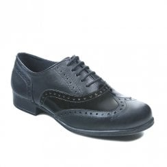Term Girls Bella Black Patent Leather Brogue School Shoes