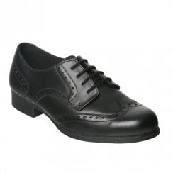 Term Girls Meghan Black Leather Brogue School Shoes