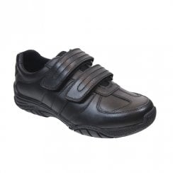 Term Boys Chivers Double Velcro School Shoes - Black Leather