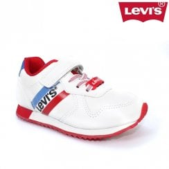 Levi's Kids Springfield Mini Velcro Trainer Shoes - White/Red