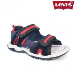 Levi's Kids Davenport Velcro Sandals - sizes 3.5-6 /  Navy Red
