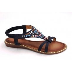 Zanni & Co Thurmond Jewel Sandals - Navy