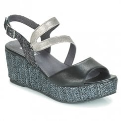 Mamzelle Pomela Black Wedge Sandal