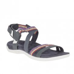 Merrell Women's District Mendi Backstrap Comfort Flat Velcro Sandals - Grey J97310