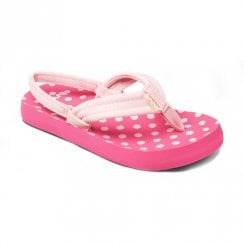 Reef Kids Little Ahi Back Strap Pink Polka Dot Flip Flop Sandals - RF002199PPD