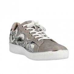 Mustang Womens Floral Embroidered Trainers - Grey 1300-302