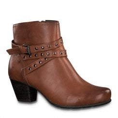 Jana Womens Cognac Mid Heeled Ankle Boots