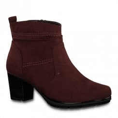 Jana Womens Burgundy Suede Mid Heeled Ankle Boots