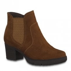 Jana Womens Cognac Suede Mid Heeled Ankle Boots