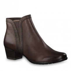 Marco Tozzi Womens Cofe Brown Low Heel Ankle Boots - 25368