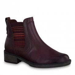 Tamaris Womens Burgundy Vine Flat Ankle Boots