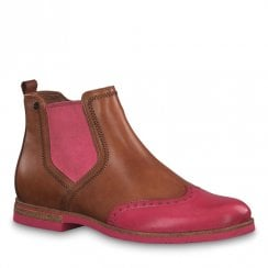 Tamaris Womens Brown Pink Leather Flat Ankle Boots