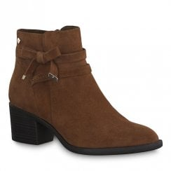 Tamaris Womens Chestnut Suede Mid Heeled Ankle Boots