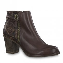 Tamaris Womens Brandy Brown Mid Heeled Ankle Boots - 25338