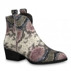 Tamaris Womens Grey Multi Snake Cowboy Ankle Boots - 25975