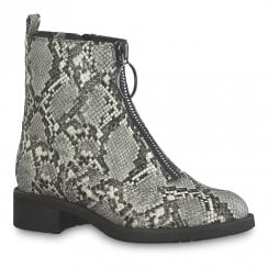 Tamaris Womens Grey Snake Front Zip Flat Ankle Boots