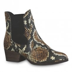 Tamaris Womens Black Brown Snake Cowboy Ankle Boots - 25974