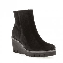 Gabor Womens Dream Suede Wedge Ankle Boots - Black