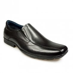 Pod Mens Boys Mens Dundee Black Leather Slip On Smart School Shoes