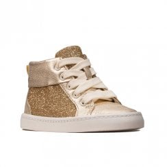 Clarks Girls City Oasis HT Gold Sparkle Sneakers Shoes (G Width)