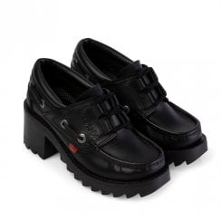 Kickers Girls Klio Ghillie Block Heeled Slip On School Shoe - Black Leather