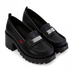 Kickers Girls Klio Loafer Block Heeled Slip On School Shoe - Black Leather