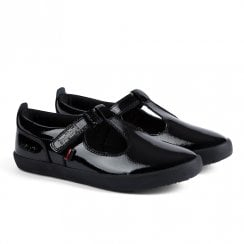 Kickers Girls Kariko T-Vel Flat School Shoe - Black Patent Leather