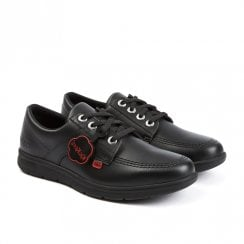 Kickers Kelland Lace Flat School Shoe - Black Leather