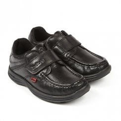 Kickers Reasan Strap Junior Flat Velcro School Shoe - Black Leather