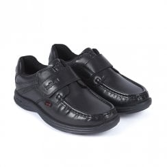 Kickers Reasan Strap Teen Flat Velcro School Shoe - Black Leather
