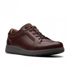 Clarks Mens Un Trail Form Mahogany Leather Casual Lace Up Shoes G WIDTH