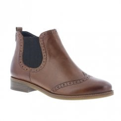 Remonte R6371 Ladies Leather Flat Chelsea Boots - Brown