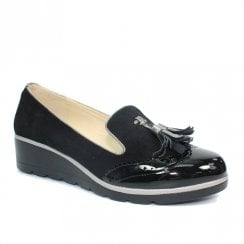 Lunar Karina Wedged Slip On Pump Shoes - Black