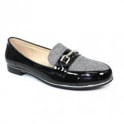 Lunar FLC175 Antonella Patent Loafers - Grey/Black