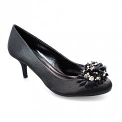 Lunar FLR510 Black Blossom Full Floral Corsage Evening Low Court Shoes