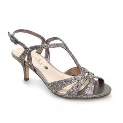 Lunar Francie Wide Fit Gemstone Heeled Sandals - Pewter