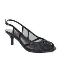 Lunar FLR540 Miley Black Mesh Elegance Heeled Sandals