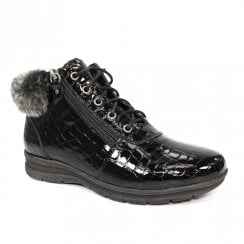 Lunar GLB019 Betsy Black Patent Croc Low Wedge Ankle Boots